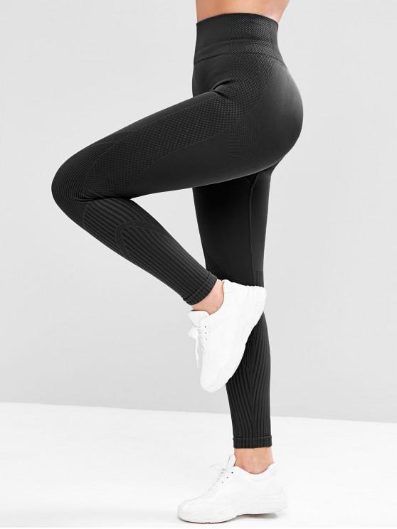 women Wide Waistband Textured Knit High Rise Leggings - BLACK M