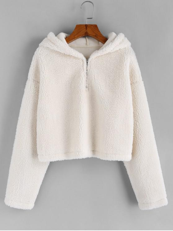 outfits ZAFUL Faux Shearling Quarter Zip Teddy Hoodie - WHITE L
