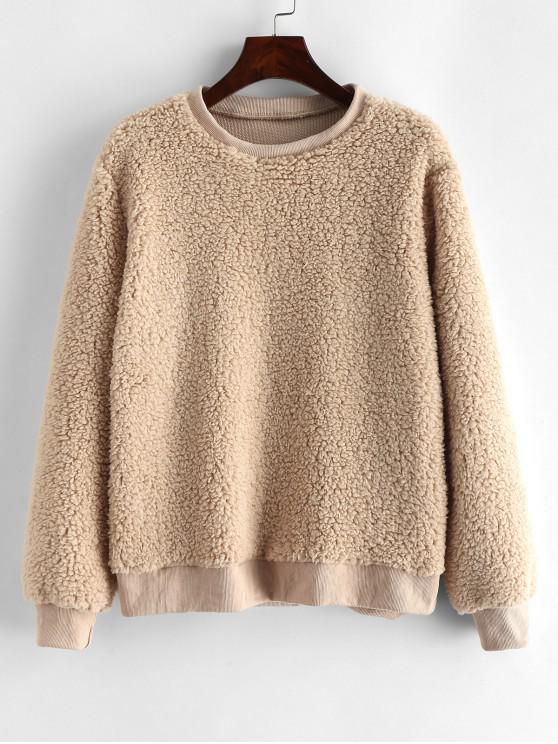 womens Faux Shearling Ribbed Hem Teddy Sweatshirt - LIGHT KHAKI XL