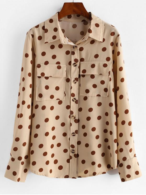 shop Polka Dot Button Up Pockets Shirt - LIGHT KHAKI L