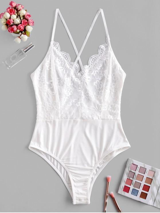 women's Flower Lace Scalloped Criss Cross Lingerie Teddy - WHITE XL