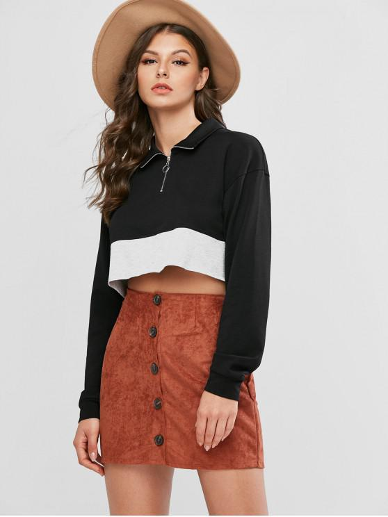 shop ZAFUL Two Tone Half Zip Crop Sweatshirt - BLACK XL
