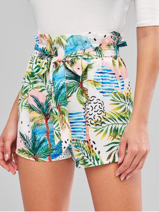 outfit ZAFUL Palm Tree Print Belted Paperbag Shorts - WHITE L