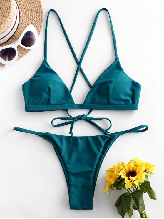 ZAFUL التعادل تقاطعات بيكيني ملابس السباحة - الطاووس الأزرق S