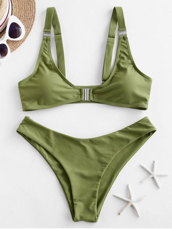 women's ZAFUL Front Closure Bikini Swimsuit - SALAD GREEN L