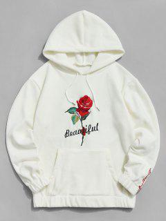 Rose Letter Embroidered Hoodie - Warm White 2xl