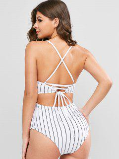 ZAFUL Pinstriped Lace-up One-piece Swimsuit - White S