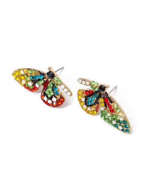 Красочный горный хрусталь Форма бабочки Серьги-пусеты - Многоцветный  Mobile