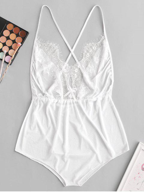trendy Lace Insert Bowknot Criss Cross Lingerie Teddy - WHITE M Mobile