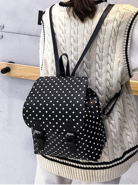 women's Polka Dot Casual Backpack - BLACK  Mobile