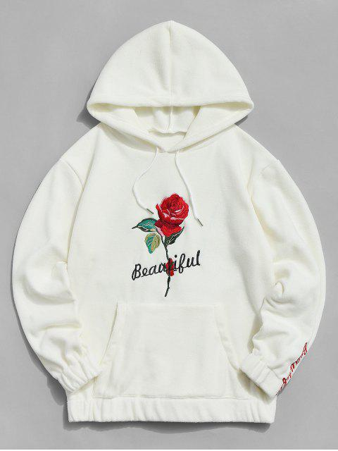 fancy Rose Letter Embroidered Hoodie - WARM WHITE 2XL Mobile