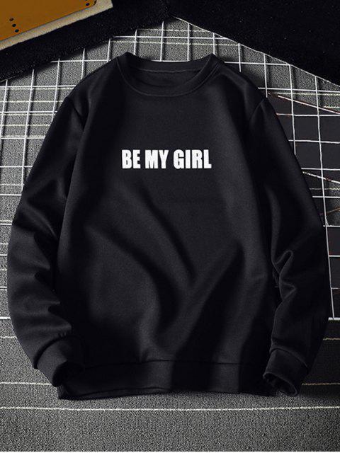 Se mi Carta impresión de la muchacha de punto elástico con capucha Hem - Negro L Mobile