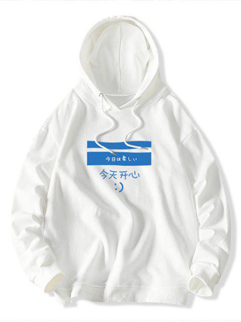 Colorblock Letra geométrica ocasional de la impresión con capucha - Blanco M Mobile