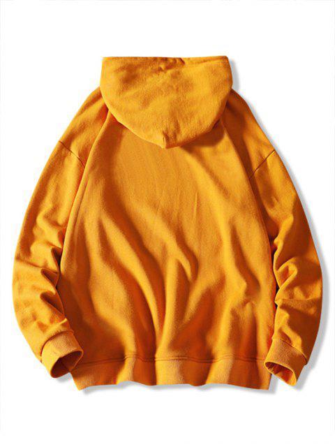 Colorblock Letra geométrica ocasional de la impresión con capucha - Amarillo Brillante XS Mobile