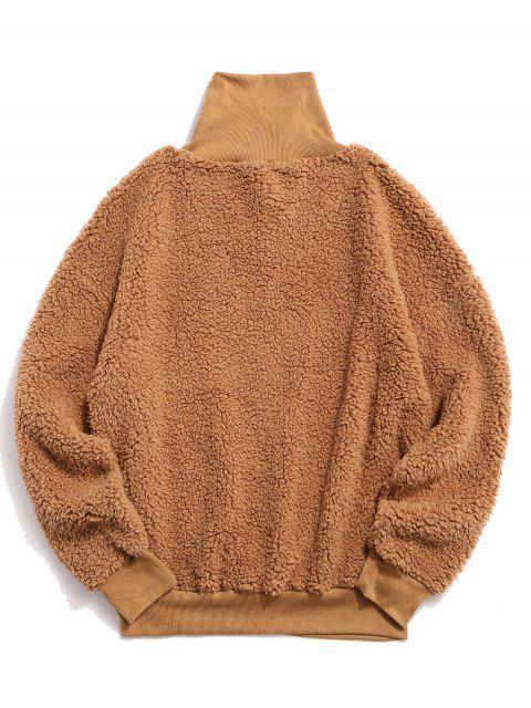ZAFUL sólido mullido piel de imitación de Medio Cuello con capucha - Caqui Claro S Mobile