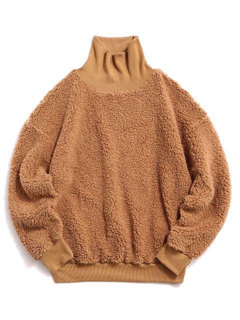 ZAFUL sólido mullido piel de imitación de Medio Cuello con capucha - Caqui Claro L Mobile