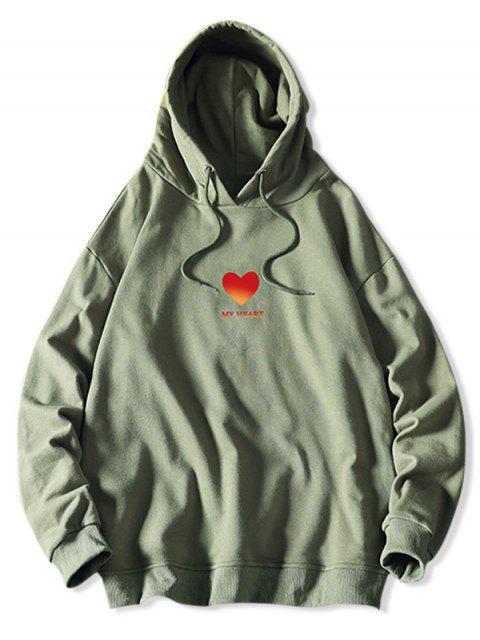 Mi corazón Estampado con capucha con cordón - Verde de Mar  S Mobile