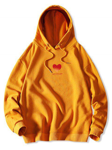 Mi corazón Estampado con capucha con cordón - Amarillo Brillante XL Mobile