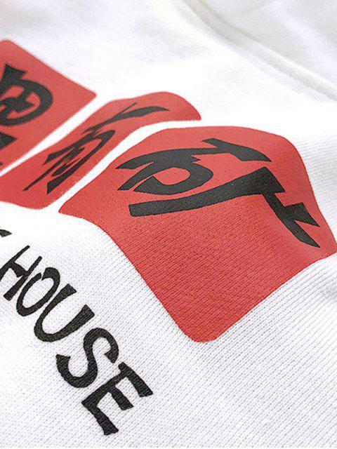 Letra divertida de impresión de goteo del lazo de hombro con capucha - Blanco 2XL Mobile