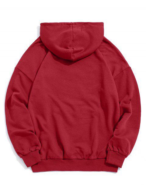 Letra divertida de impresión de goteo del lazo de hombro con capucha - Rojo M Mobile