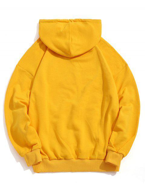 Letra divertida de impresión de goteo del lazo de hombro con capucha - Amarillo L Mobile
