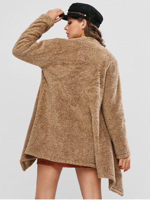 ZAFUL Manteau Cascade Tunique Fourré Ouvert en Avant - Marron Camel XL Mobile