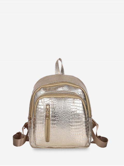 chic Casual Simple Solid Soft Backpack - GOLD  Mobile