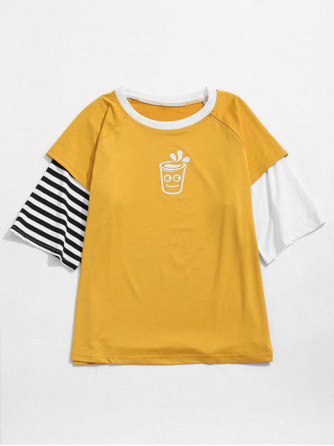 Faux gráfico de la historieta rayada de Twinset de la camiseta - Amarillo XL Mobile