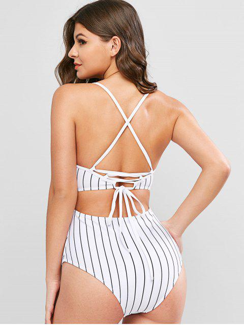 hot ZAFUL Pinstriped Lace-up One-piece Swimsuit - WHITE M Mobile