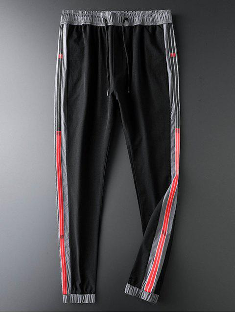 outfits Colorblock Stripes Spliced Casual Jogger Pants - BLACK S Mobile