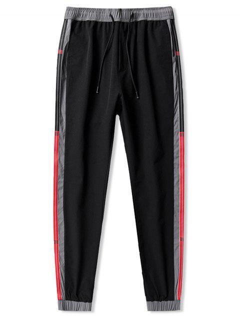 Colorblock條紋拼接休閒褲慢跑者 - 黑色 XS Mobile