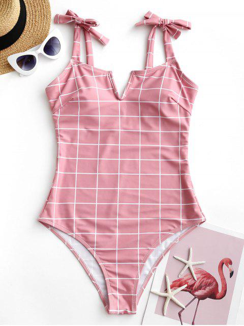 chic ZAFUL Grid V Wired Tie Shoulder One-piece Swimsuit - LIGHT PINK XL Mobile