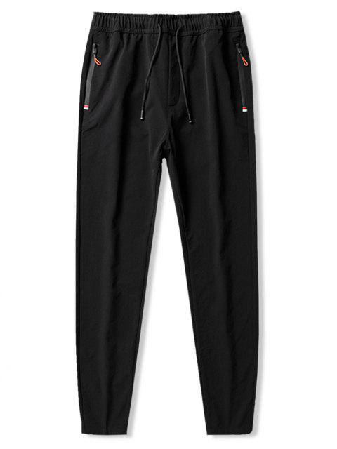 new Solid Elastic Long Slim Fit Drawstring Pants - BLACK L Mobile