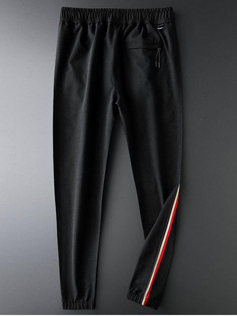 蜜蜂刺繡對比條紋抽繩短褲慢跑者 - 黑色 XL Mobile