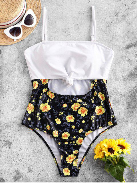 shop ZAFUL Flower Knotted Lace Up One-piece Swimsuit - BLACK L Mobile