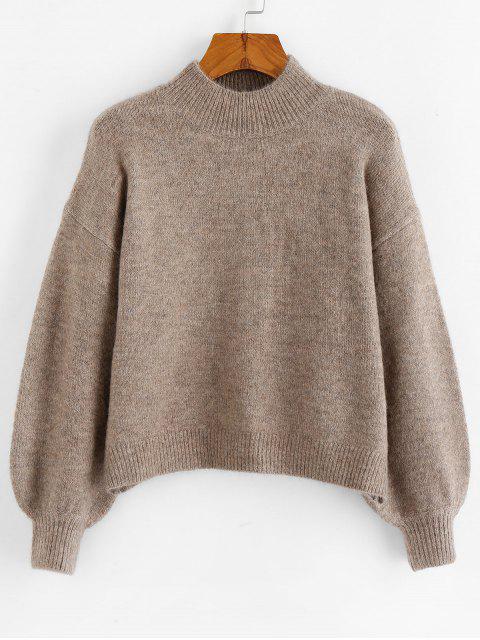 outfits ZAFUL Mock Neck Mixed Yarn Lantern Sleeve Sweater - PUCE L Mobile