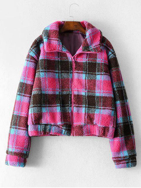 郵編前縫口袋格紋外套泰迪 - 玫瑰紅 S Mobile