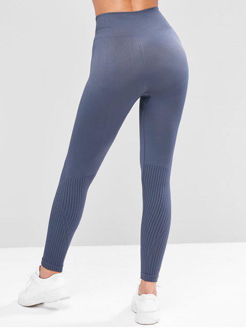 寬腰帶質感的針織高層護腿 - 板岩藍色 M Mobile