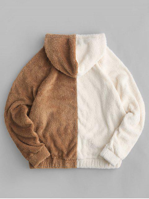 Colorblock bolsillo delantero con capucha con cordón mullido - Multicolor-A M Mobile