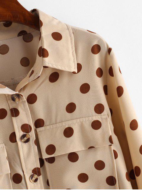 shop Polka Dot Button Up Pockets Shirt - LIGHT KHAKI L Mobile