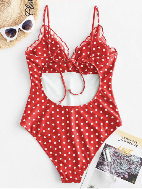 outfit ZAFUL Frilled Trim Polka Dot Vintage One-piece Swimsuit - LAVA RED XL Mobile