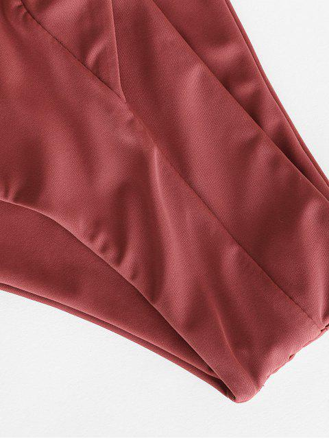 ZAFUL Surplice Taille Bikini Bottom mit Hoher Taille - Kirschrot M Mobile