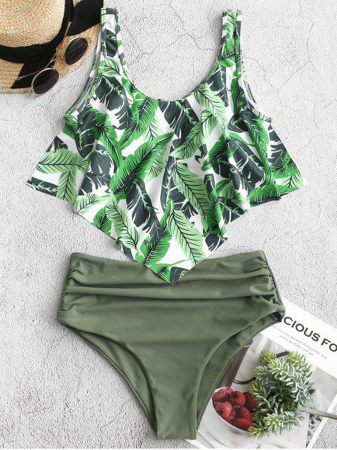 ZAFUL Maillot de Bain Tankini Feuille de Palmier à Volants à Lacets - Vert Camouflage L Mobile