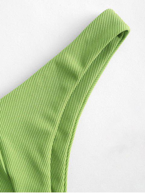 ZAFUL Hochgeschnittene Gewelltes Bikini Bottom - Hellgrün L Mobile