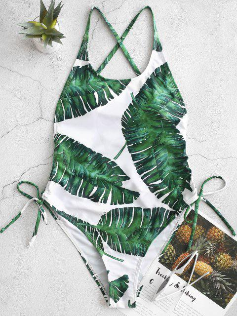 sale ZAFUL Palm Leaf Cinched Crisscross Monokini Swimsuit - WHITE XL Mobile