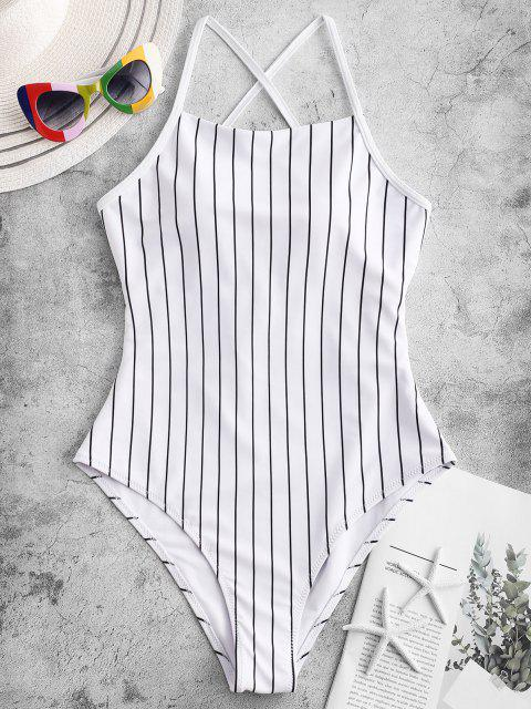outfit ZAFUL Pinstriped Lace-up One-piece Swimsuit - WHITE L Mobile