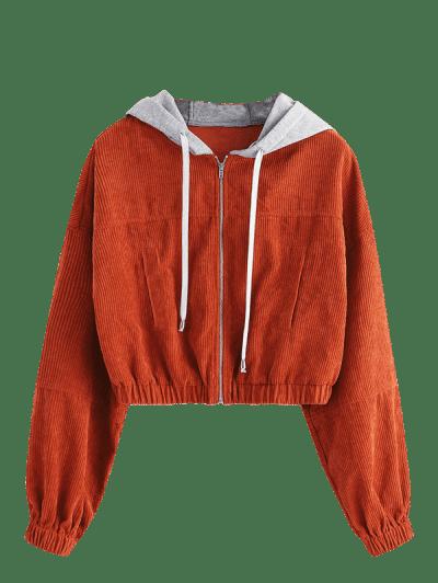 ZAFUL Corduroy Hooded Drop Shoulder Crop Jacket, Light brown