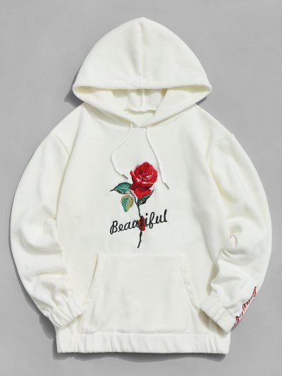 Rose Letter Embroidered Hoodie - Warm White L