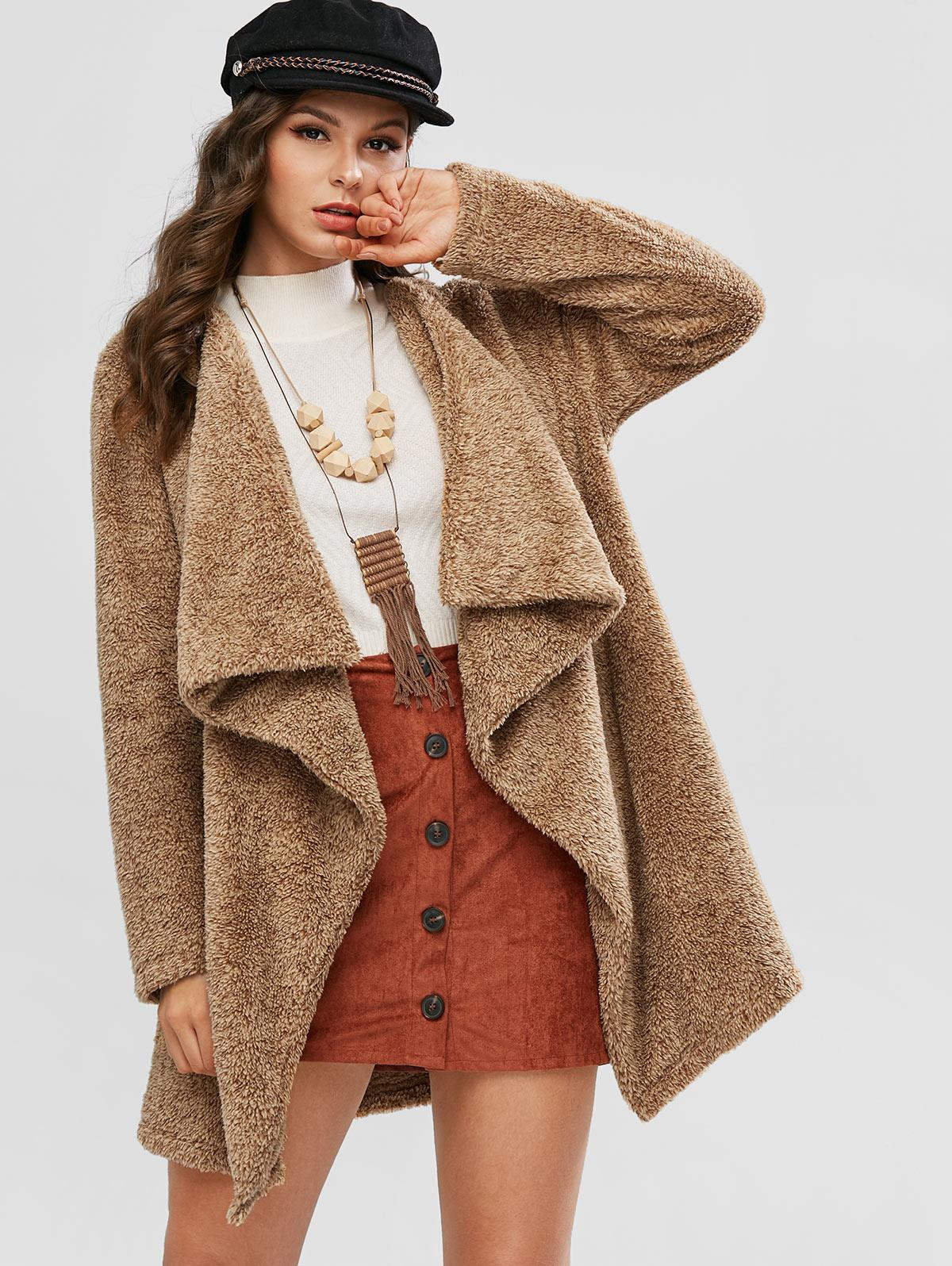 ZAFUL Open Front Waterfall Fluffy Tunic Coat
