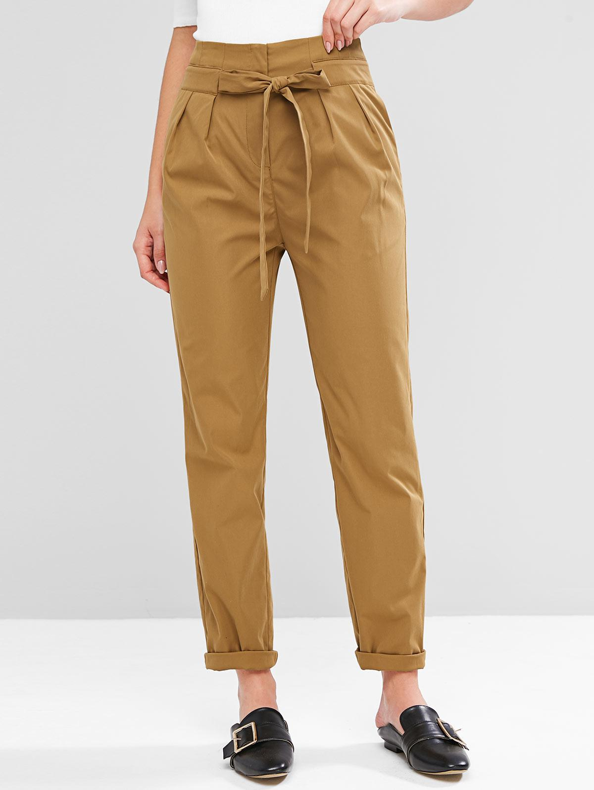 ZAFUL Knotted High Waist Solid Pants